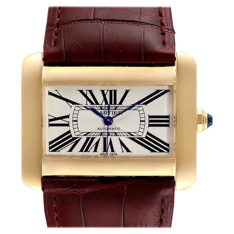 Cartier Tank Divan Large Silver Dial Yellow Gold Ladies Watch W6300856 For Sale