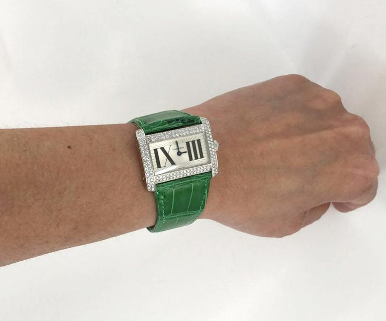 Round Cut Cartier Tank Divan Mini Diamond Watch For Sale