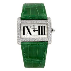 Cartier Diamond White Gold Tank Divan Mini Wristwatch