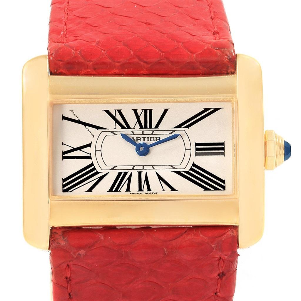 Cartier Tank Divan Mini Yellow Gold Red Strap Ladies Watch W6300356