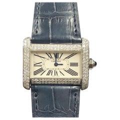 Cartier Tank Divan Steel and Diamond Set Quartz Wristwatch