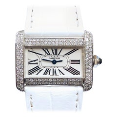 Cartier Tank Divan Steel and Diamond Set Quartz Wristwatch