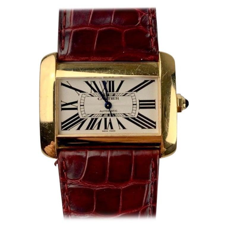 Cartier Tank Divan XL Ref. 2602 18 Karat Yellow Gold Watch For Sale