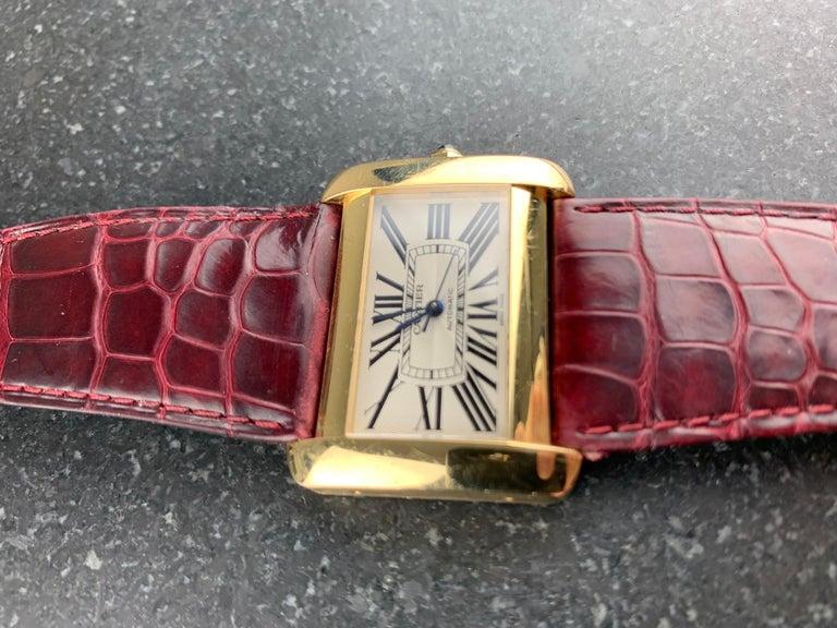 Cartier Tank Divan XL Ref. 2602 18 Karat Yellow Gold Watch For Sale 5