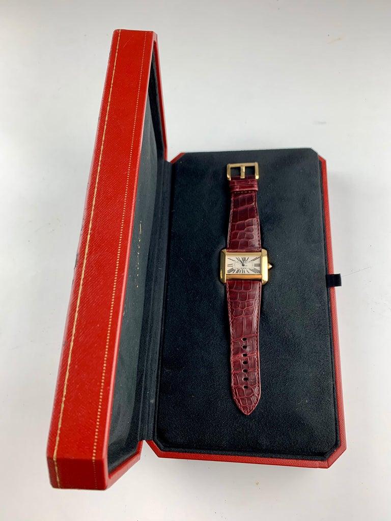 Cartier Tank Divan XL Ref. 2602 18 Karat Yellow Gold Watch For Sale 7