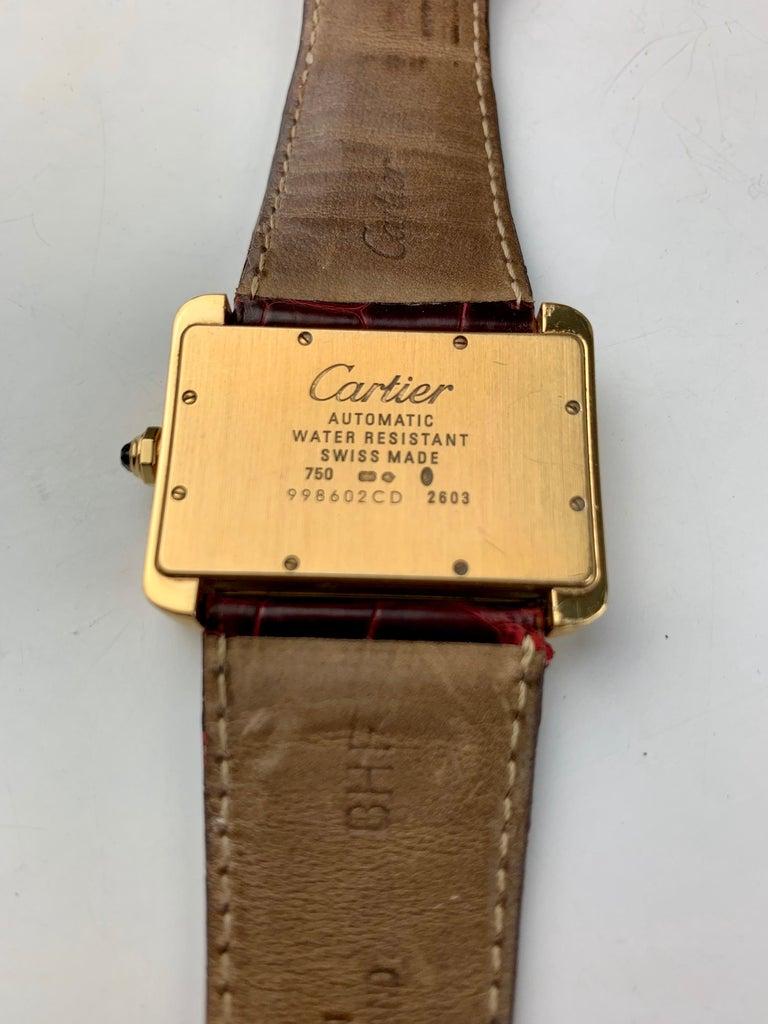 Cartier Tank Divan XL Ref. 2602 18 Karat Yellow Gold Watch For Sale 10
