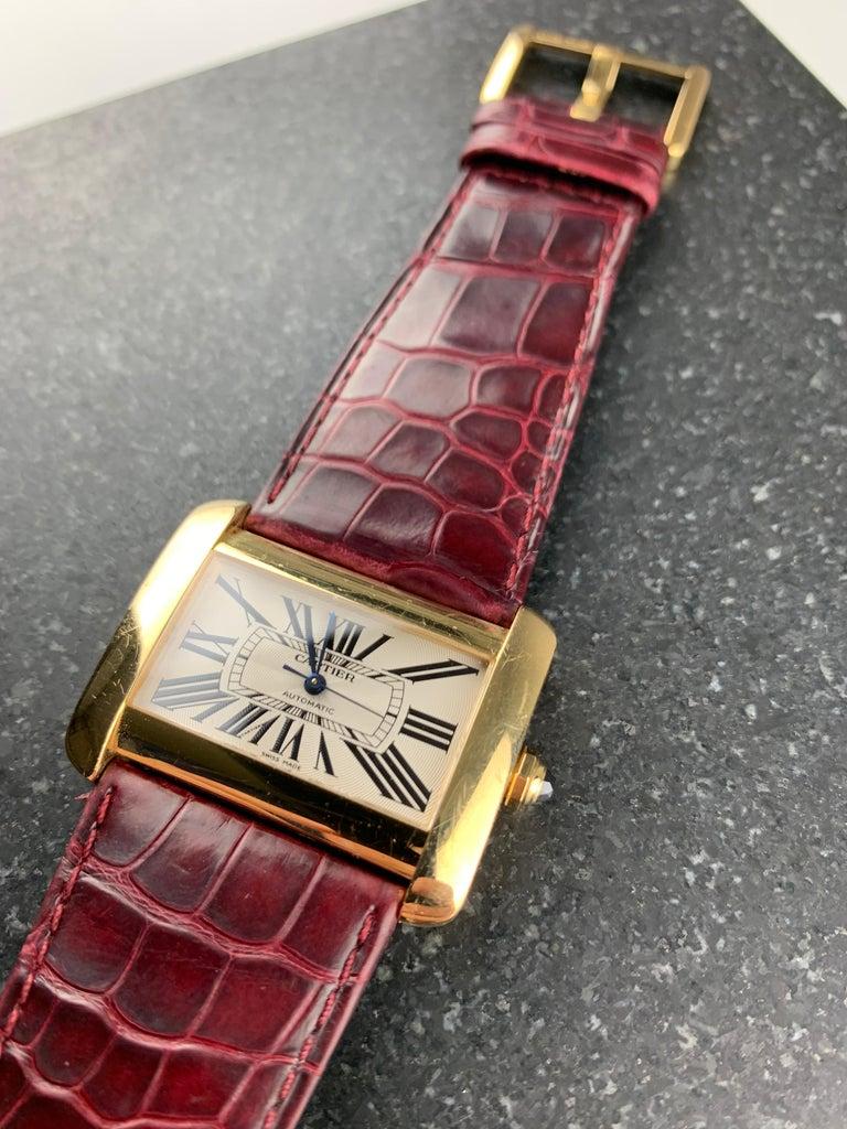 Modern Cartier Tank Divan XL Ref. 2602 18 Karat Yellow Gold Watch For Sale