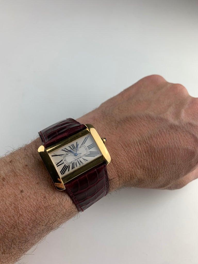 Women's or Men's Cartier Tank Divan XL Ref. 2602 18 Karat Yellow Gold Watch For Sale