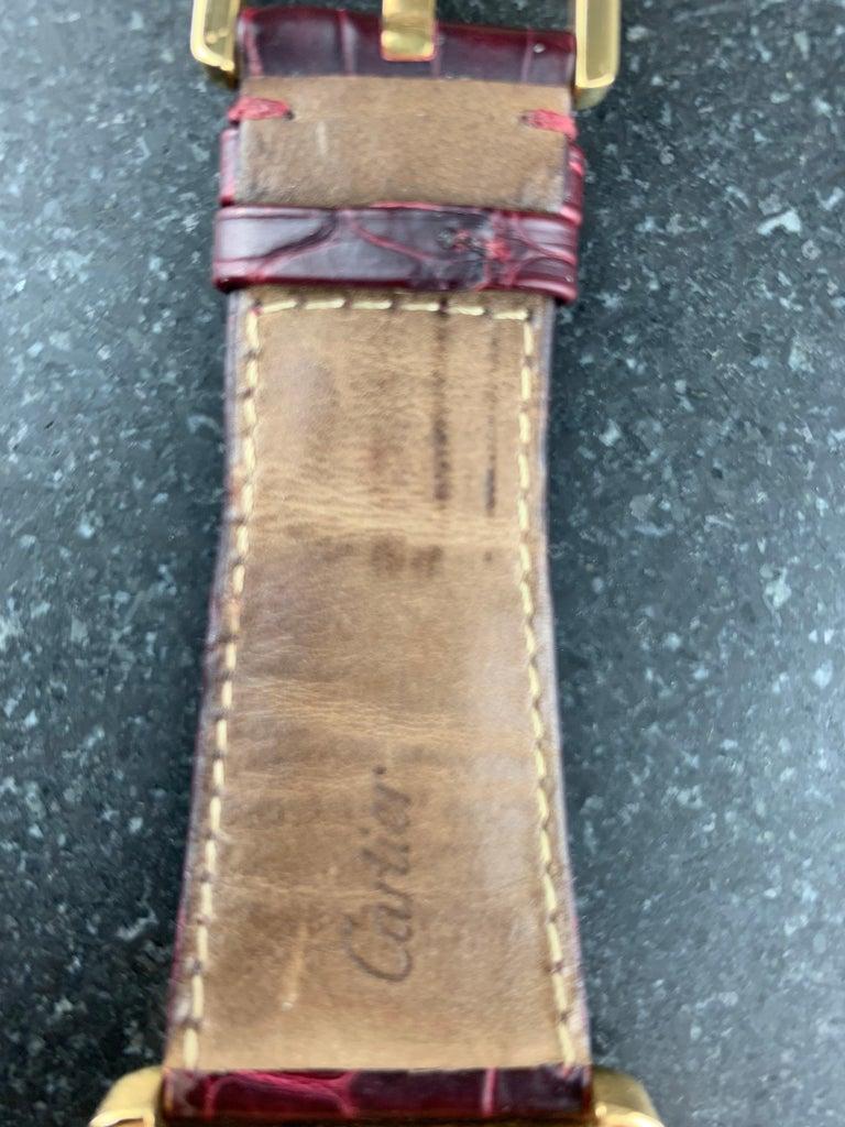 Cartier Tank Divan XL Ref. 2602 18 Karat Yellow Gold Watch For Sale 3