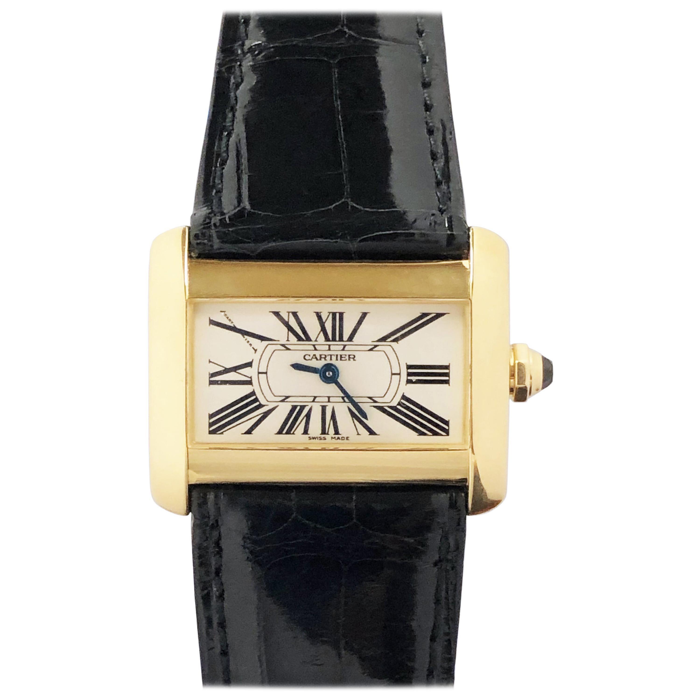 Cartier Tank Divan Yellow Gold Quartz Wristwatch
