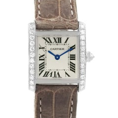 Cartier Tank Francaise 18 Karat Gold Diamond Ladies Watch WE100231 Box Papers