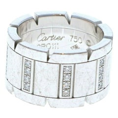 Cartier Tank Francaise 18 Karat White Gold and Diamond Ring Band 16.3 grams