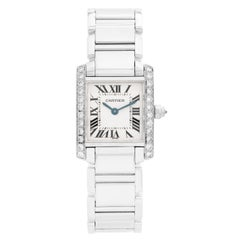 Cartier Tank Francaise 18 Karat White Gold and Diamonds Ladies Watch WE1002S3