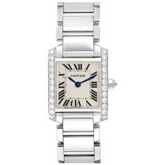Cartier Tank Francaise 18 Karat White Gold Diamond Ladies Watch WE1002S3