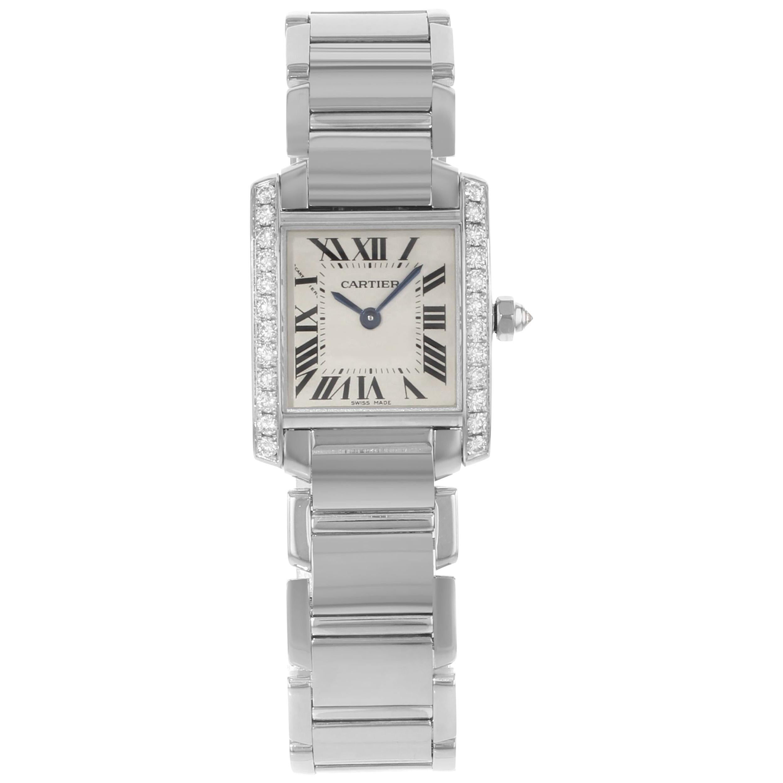 Cartier Tank Francaise 18 Karat White Gold Diamond Quartz Ladies Watch WE1002S3