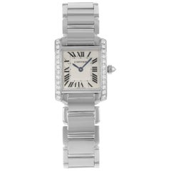 Cartier Tank Francaise 18 Karat White Gold Diamond Quartz Ladies Watch WE1002S3