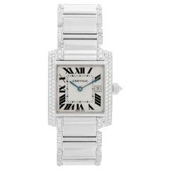 Cartier Tank Francaise 18 Karat White Gold Ladies Watch WE1020S3