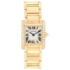Cartier Tank Francaise 18 Karat Yellow Gold Diamond Ladies Watch WE1001R8