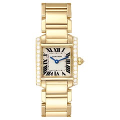Cartier Tank Francaise 18 Karat Yellow Gold Diamond Ladies Watch WE1001R8