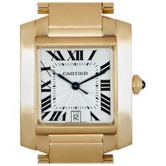 Cartier Tank Francaise 18 Karat Yellow Gold Silver Guilloche Dial W50001R2
