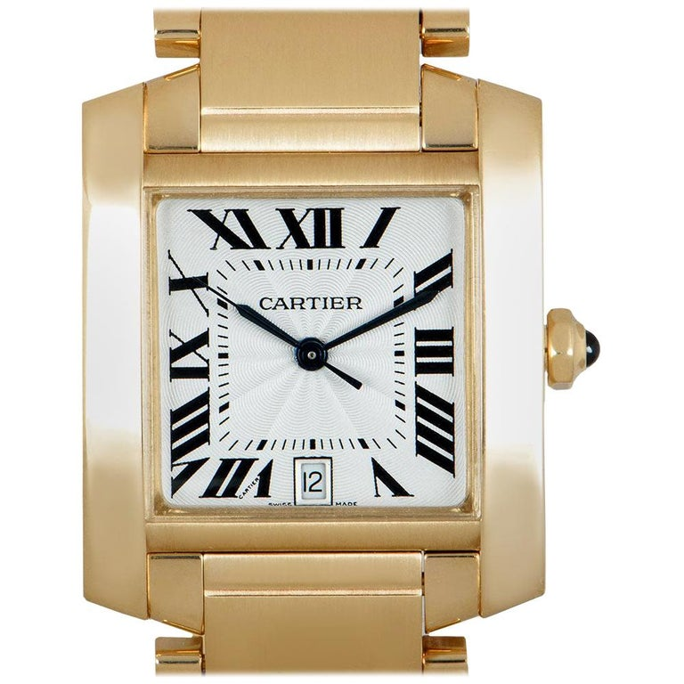 Cartier Tank Francaise 18 Karat Yellow Gold Silver Guilloche Dial W50001R2 For Sale