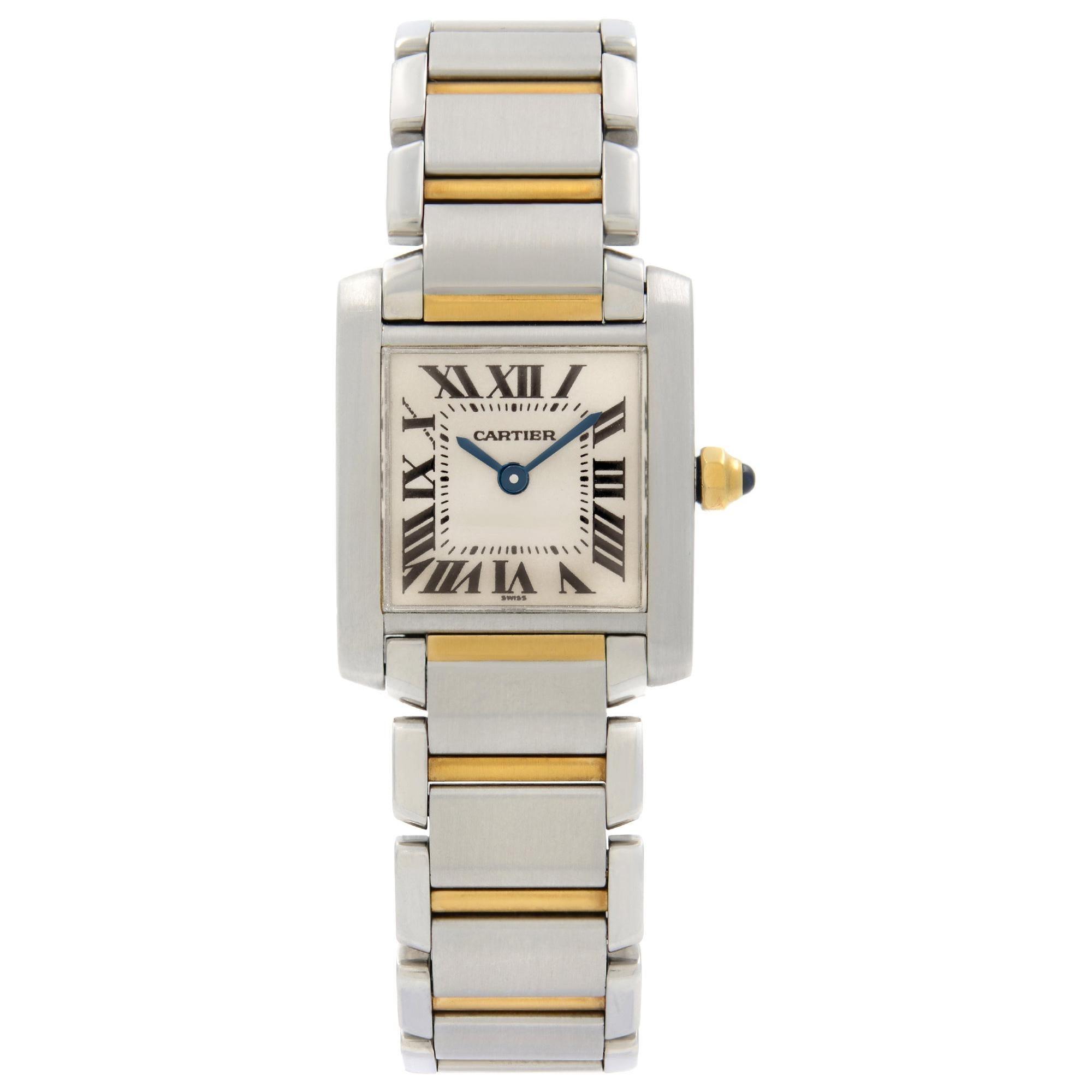 Cartier Tank Francaise 18K Gold Steel Cream Dial Quartz Ladies Watch 2300