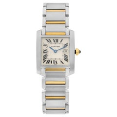 Cartier Tank Francaise 18k Gold Steel White Roman Dial Ladies Watch W51012Q4