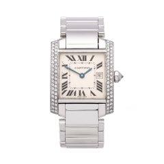 Cartier Tank Francaise 18k white gold 2491 Ladies wristwatch
