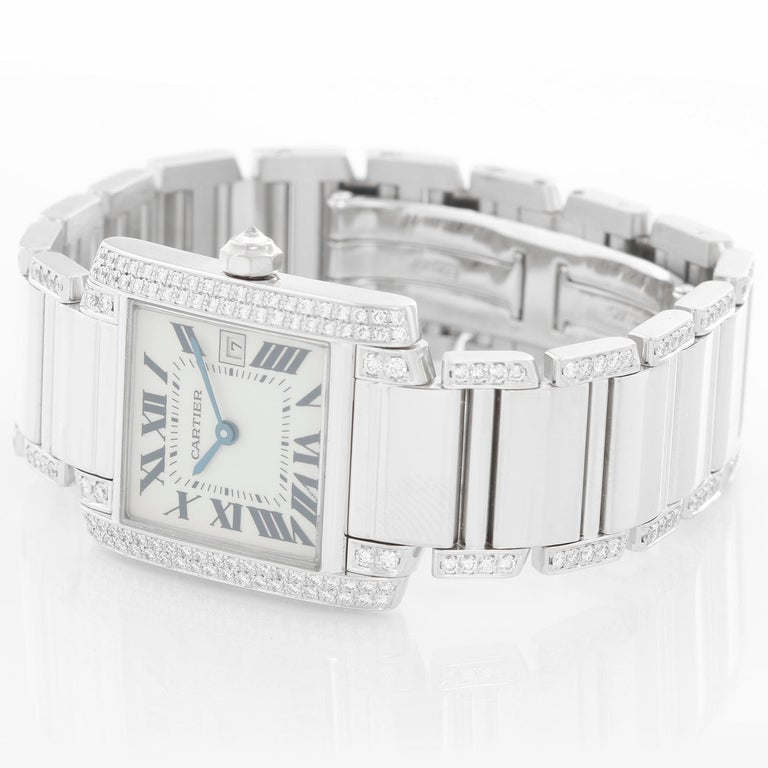 Cartier Tank Francaise 18 Karat White Gold Ladies Watch WE1020S3 In Excellent Condition For Sale In Dallas, TX