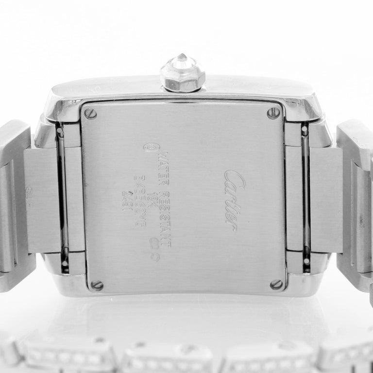 Cartier Tank Francaise 18 Karat White Gold Ladies Watch WE1020S3 For Sale 1