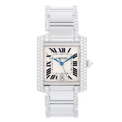 Cartier Tank Francaise 18k White Gold Mens Watch WE1003SF