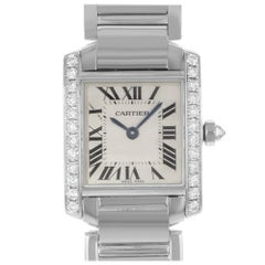 Cartier Tank Francaise 18 Karat White Gold Quartz Ladies Watch WE1002S3 New B/P