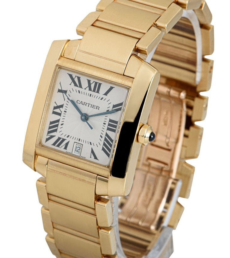 A 28 mm 18k Yellow Gold Tank Francaise Gents Wristwatch, silver guilloche dial with roman numerals and a secret signature at V