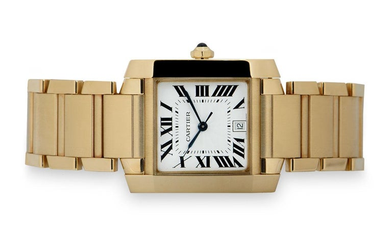 Cartier Tank Francaise 18 Karat Yellow Gold Silver Guilloche Dial W50001R2 In Excellent Condition For Sale In London, GB