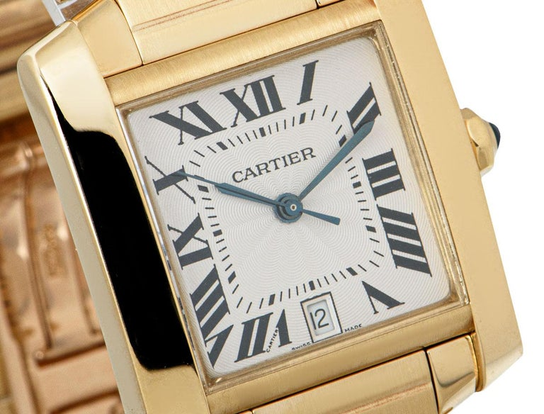 Women's Cartier Tank Francaise 18 Karat Yellow Gold Silver Guilloche Dial W50001R2 For Sale