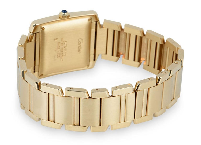 Cartier Tank Francaise 18 Karat Yellow Gold Silver Guilloche Dial W50001R2 For Sale 1