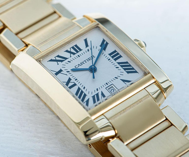 Cartier Tank Francaise 18 Karat Yellow Gold Silver Guilloche Dial W50001R2 For Sale 2