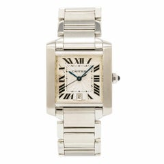 Cartier Tank Francaise 2302 W51002Q3 Men's Automatic Watch Silver Dial SS