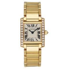 Cartier Tank Francaise 2385 18k Yellow Gold Diamond Ladies Watch