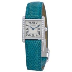 Cartier Tank Francaise 2403, Blue Dial, Certified and Warranty