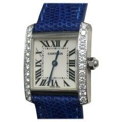 Cartier Tank Francaise 2403 Diamond Bezel 18 Karat White Gold Box and Paper