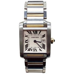 Cartier Tank Francaise 2465 18 Karat Gold and Stainless Service Papers and Pouch