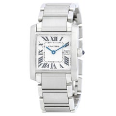 Cartier Tank Francaise 2465, Black Dial, Certified and Warranty