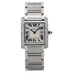 Cartier Tank Francaise 2465 VS Diamond Bezel Ladies Quartz Watch