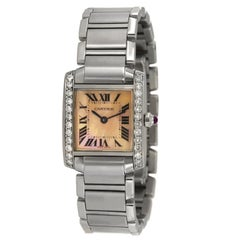 Cartier Tank Francaise Aftermarket Diamond Bezel Pink MOP Dial Watch 2384
