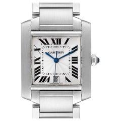 Cartier Tank Francaise Blue Hands Steel Automatic Men's Watch W51002Q3