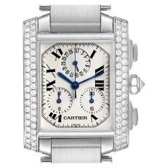 Cartier Tank Francaise Chrongraph White Gold Diamond Men's Watch 2367