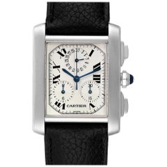 Cartier Tank Francaise Chronoflex Black Strap Steel Men's Watch W51001Q3
