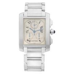 Cartier Tank Francaise Chronoflex Steel Off-White Quartz Men's Watch W51001Q3