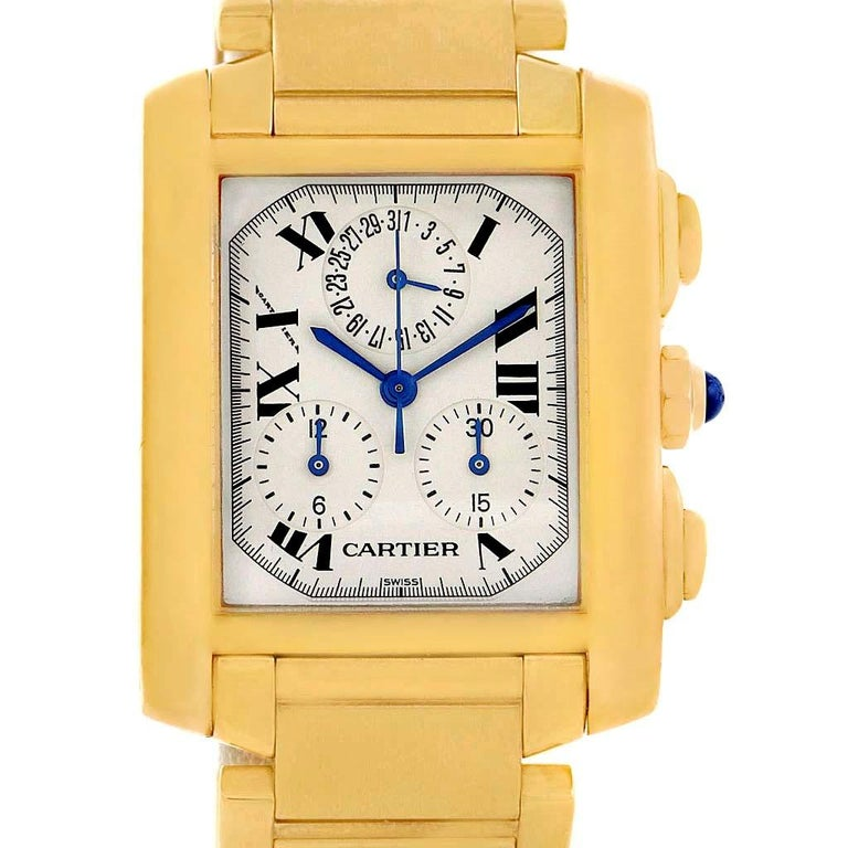 c6f79165116b Cartier Tank Francaise Chronograph Yellow Gold Quartz Watch W50005R2 In  Excellent Condition For Sale In Atlanta